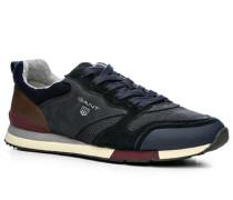 Herren Schuhe Sneaker Leder-Textil marine