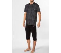 Herren Schlafanzug Pyjama Baumwolle schwarz gestreift