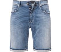 Herren Jeansshorts Tapered Fit Baumwoll-Stretch HYPERFLEX STRETCH DENIM 11,5oz jeansblau