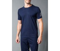 Herren T-Shirt Baumwolle marineblau