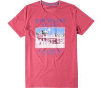 Herren T-Shirt Baumwolle koralle gemustert rot