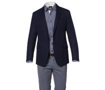 Herren Sakko Slim Fit Baumwolle-Wolle navy blau