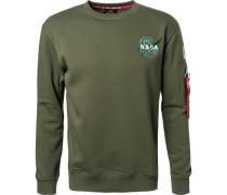 Herren Sweatshirt, Baumwolle, khaki grün