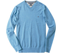 Herren Pullover Baumwolle-Leinen hellblau meliert