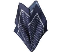 Herren Accessoires Einstecktuch, Baumwolle, marineblau-weiß gemustert