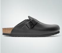 Herren Damen Schuhe Pantolette aus Leder schwarz
