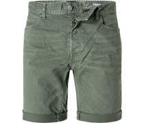 Jeansshorts, Tapered Fit, Baumwoll-Stretch, oliv