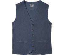 Herren Pullover Strickweste Baumwolle-Wolle blau meliert braun