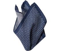 Herren Accessoires Einstecktuch Wolle dunkelblau-hellgrau gemustert