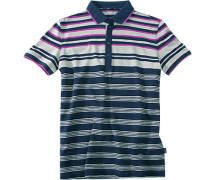 Herren Polo-Shirt Slim Fit Baumwoll-Piqué blau-grau gestreift