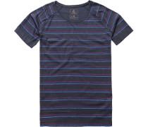 Herren T-Shirt Baumwolle dunkelblau-fuchsia gestreift