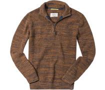 Herren Pullover Troyer Baumwolle meliert