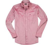Herren Hemd Modern Fit Oxford rot-weiß meliert