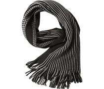 Herren Schal Woll-Mix schwarz-grau gemustert