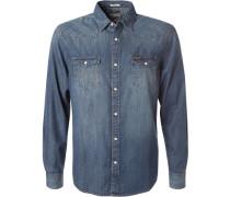 Herren Hemd Regular Fit Jeans denim blau