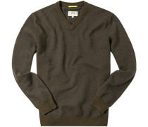 Herren Pullover Baumwoll-Wolle-Mix dunkelbraun-dunkelblau gemustert