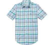 Herren Hemd Regular Fit Popeline grün-blau kariert