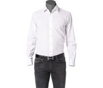 Herren Hemd Leinen-Baumwolle weiß