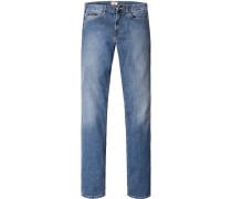 Herren Jeans Regular Fit Baumwoll- Stretch jeansblau