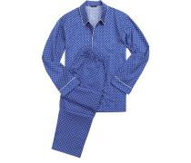 Herren Schlafanzug Pyjama Baumwolle blau gemustert