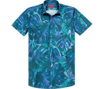 Herren Hemd Extra Slim Fit Popeline blau-grün gemustert