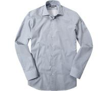 Herren Hemd Shaped Fit Popeline weiß-royal gepunktet blau