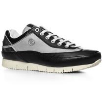Herren Schuhe Sneaker, Leder-Textil, schwarz-weiß