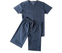 Herren Schlafanzug Pyjama Baumwolle navy blau