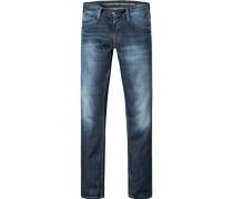 Herren Jeans Slim Fit Baumwolle 11,5oz dark rinse used