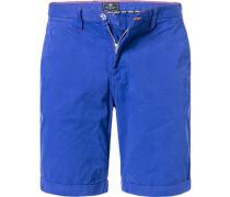 Herren Hose Bermudashorts Regular Fit Baumwolle blau