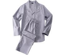 Herren Schlafanzug Splendesto Pyjama Baumwolle grau gestreift