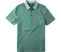 Herren Polo-Shirt Strukturgewebe grün-weiß gemustert