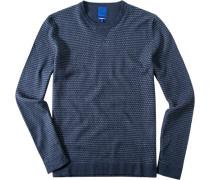 Herren Pullover Modern Fit Baumwoll-Kaschmir-Mix jeans-hell gemustert