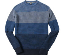 Herren Pullover Woll-Mix rauch-navy gestreift
