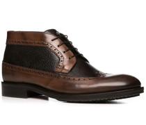 Herren Schuhe Schnürstiefeletten, Leder, schokobraun-dunkelbraun