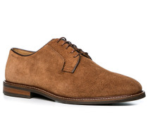 Herren Schuhe Derby Veloursleder cognac braun,beige