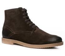 Herren Schuhe Stiefelette, Veloursleder, dunkelbraun
