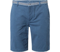 Herren Hose Bermudashorts Baumwolle blau gemustert
