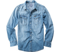 Herren Hemd Slim Fit Jeans indigo blau