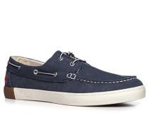 Herren Bootsschuhe Canvas navy blau,weiß