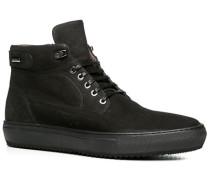 Herren Schuhe Stiefelette Nubukleder warm gefüttert schwarz