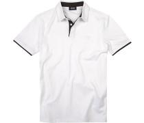 Herren Polo-Shirt, Baumwoll-Jersey, weiß