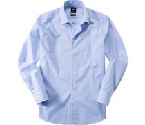 Herren Hemd Popeline blau-weiß gestreift