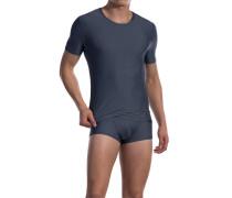 Herren T-Shirt Microfaser-Stretch grau gestreift