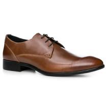 Herren Schuhe Derby, Leder, cognac braun