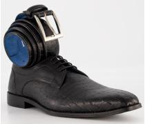Schuhe Derby mit Gürtel Leder dunkel