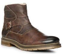 Herren Schuhe Stiefeletten, Leder warmgefüttert, dunkelbraun