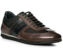 Herren Schuhe Sneaker Leder haselnussbraun schwarz