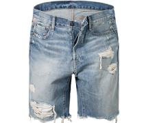 Herren Bermudas Straight Fit Baumwoll-Denim jeansblau