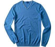 Herren Pullover, Baumwolle, bleu blau